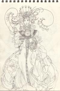 "Dessin ""L'esprit de la coca"" stylo noir sur papier 29,7 x 21 cm de Teddy Ros représentant l'esprit de la coca en robe de fleure"