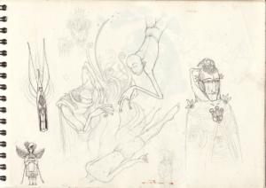 Page croquis crayon sur papier 29,7 x 21 cm 2011 réaliser pendant la diète d'ayahuma