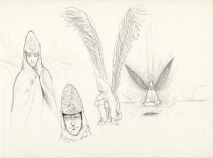 Page croquis stylo noir et crayon sur papier 29,7 x 21 cm 2011 de teddy Ros représentant les esprit de la plante de coca