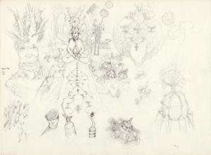 """Croquis préparatoire du dessin """"début de sessions"""" 2011 crayon sur papier 29,7 x 21 cm représentant un début de session chamanique de Teddy ros"""