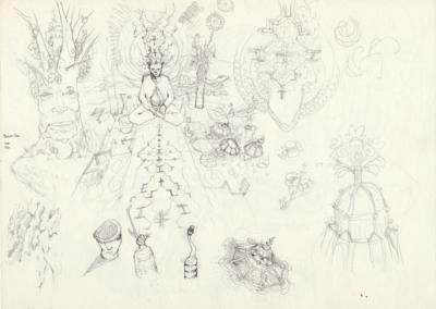 """Croquis préparatoire du dessin """"début de sessions"""" 2011 crayon sur papier 29,7 x 21 cm"""