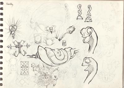 Page croquis stylo noir et crayon sur papier 29,7 x 21 cm