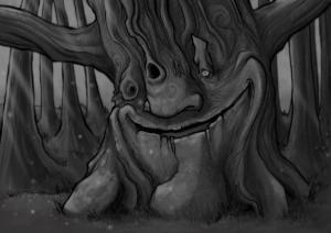 "digital painting ""Arbre-03"" 2017 digital painting, ipad pro, procreate, apple pencil de Teddy Ros représentant un arbre esprit souriant"