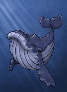 """Digital painting """"Baleine autre version"""" 2017 digital painting, ipad pro, procreate, apple pencil de l'artiste teddy Ros représentant une baleine en mer"""