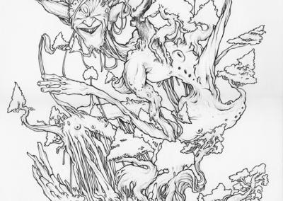 """Dessin """"Mr Bansaï"""" 2017 crayon sur papier 42 x 29,7 cm de l'artiste Teddy Ros représentant l'esprit d'un banzaï"""