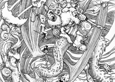 """Dessin """"Rossinière"""" 2014, stylo noir sur papier, 29,7 x 21 cm de l'artiste Teddy Ros inspirer par l'art de Rossinière petit village dans le district du pays d'Enhaut en Suisse représentant les esprits des montagnes suisse"""