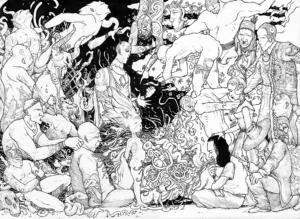 """Dessin """"Session chamanique"""" 2010, stylo noir sur papier, 42 x 29,7 cm de l'artiste Teddy Ros représentant une sessions avec l'ayahusca ou un guérisseur fait un soin a son patient, tous les esprits médicinales l'accompagnes"""