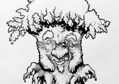 """dessin """"Chêne-01"""" 2015 stylo noir sur papier 7 x 5 cm de Teddy Ros représentant l'esprit du chêne"""