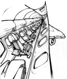 """Dessin de Teddy Ros """"avion"""" 2008 stylo noir et feutre sur papier 10 x 5 cm représentant l'avion que l'artiste Teddy Ros a pris pour partir au pérou"""