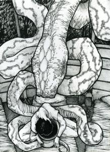 """Dessin de Teddy Ros """"premier verre"""" 2008 stylo noir et crayon sur papier 21 x 14,8 cm représentant la premiere session d'ayahuasca avec les hsipibo conibo et sa rencontre avec la plante ayahuasca"""