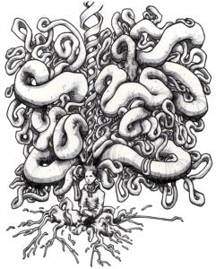 """Dessin de Teddy Ros """"ayahuasca"""" 2009 stylo noir et feutre sur papier 29,7 x 21 cm représentant un autoportrait de l'artiste traversser par l'esprit de l'ayahuasca"""