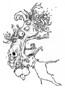 """Dessin de Teddy Ros """"ayahuascacolombian"""" 2007 stylo noir sur papier 5 x 10 cm représentant des formes organiques"""