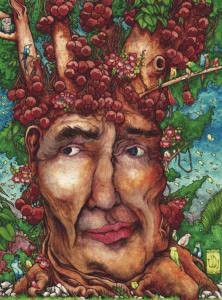"""Dessin """"ayahuma tree balls"""" 2012 stylo noir, aquarelle sur papier 29,7 x 21 cm de l'artiste Teddy Ros représentant l'esprit de l'arbre Ayahuma avec ses boules et fleures"""