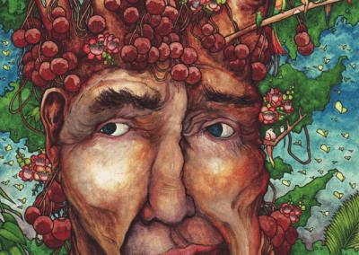 """""""ayahuma tree balls"""" 2012 stylo noir, aquarelle sur papier 29,7 x 21 cm"""