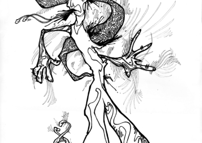 """Dessin de Teddy Ros """"ayapremieresession"""" 2007 stylo noir sur papier 30 x 21 cm représentant la premiere rencontre avec l'esprit de l'ayahuasca et l'artiste Teddy Ros"""