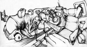 """Dessin de Teddy Ros""""bus pour le Pérou"""" 2007 stylo noir et feutres sur papier 10 x 4 cm représentant les inquiétude de l'artiste Teddy Ros misent sur papier"""