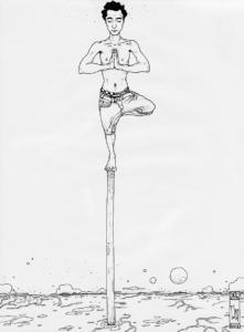 """Dessin de l'artiste Teddy ros """"Concentration Ayahuma-1"""" 2011, stylo noir sur papier, 29,7 x 21 cm représentant un autoportrait de l'artiste Teddy Ros en train de ce concentrer debout en position de yoga l'arbre sur un bout de bâton"""