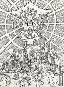 """Dessin de Teddy Ros """"Concentration Ayahuma-2"""" 2011, stylo noir sur papier, 29,7 x 21 cm représentant l'artiste et le palais de sa diète de l'ayahuma, les esprits ainsi que ça diète sur la tête"""