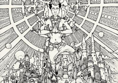 """""""Concentration Ayahuma-2"""" 2011, stylo noir sur papier, 29,7 x 21 cm"""