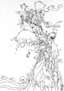 """Dessin """"Conquête"""" 2018 stylo noir sur papier 59,4 x 42 cm de l'artiste Teddy Ros représentant différents pêcheurs sur un bateau en mer avec une vague remplis de poissons"""