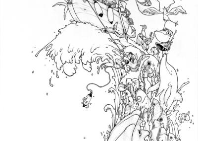"""""""Conquête"""" 2018 stylo noir sur papier 59,4 x 42 cm"""