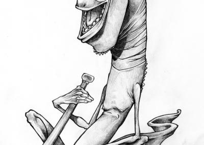 """Dessin """"Cosmicbow-01"""" 2017 crayon sur papier 29,7 x 21 cm de l'artiste teddy Ros représentant un esprit et son instrument cosmicbow"""