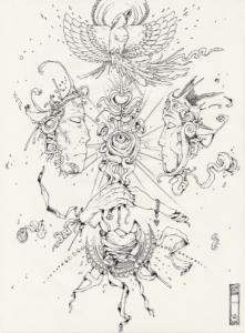 """Dessin de Teddy Ros """"Couple"""" 2011, stylo noir sur papier, 29,7 x 21 cm représentant un couple d'amoureux ce regardant dans le cosmos"""