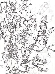 """Dessin de Teddy Ros """"Dessins-try"""" 2009, stylo noir sur papier, 42 x 29,7 cm représentant un mélange d'esprits"""