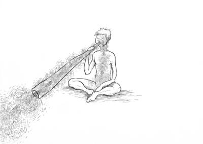 """Dessin """"Didgeridoo"""" 2017 stylo noir sur papier 29,7 x 21 cm de l'artiste Teddy Ros représentant l'énergie sortant d'un instrument de musique le didgeridoo"""