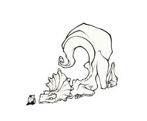 """dessin de Teddy Ros """"Dino Ayahuma"""" 2011, stylo noir sur papier, 12 x 12 cm représentant un dinosaure devant un oiseau"""