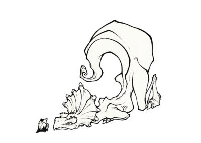 """Dino Ayahuma"" 2011, stylo noir sur papier, 12 x 12 cm"
