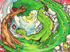 """Dessin de Teddy Ros """"Dino-couleur-ayahuma"""" 2011, stylo noir et aquarelle sur papier, 29,7 x 21 cm représentant un dinosaure en train de reniflé une fleure de l'arbre ayahuma"""