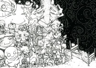 """dessin de Teddy Ros """"Rêves d'esprits"""" 2009, stylo noir sur papier, 21 x 14,8 cm représentant l'artiste en train de dormir et de ce voir dormir en même temps, entourer des nombreux esprits"""