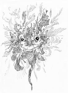 """Dessin de l'artiste teddy Ros """"espiritus"""" 2009 stylo noir sur papier 29,7 x 21 cm représentant un esprit dans l'énergie"""