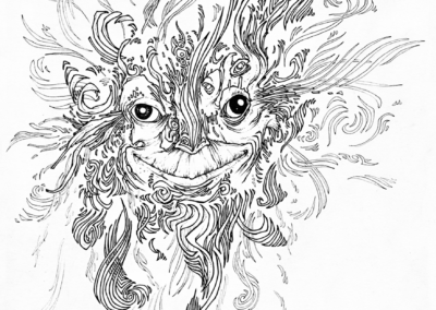 """espiritus"" 2009 stylo noir sur papier 29,7 x 21 cm"