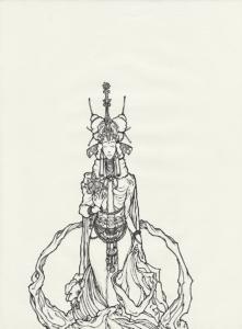 "Dessin de Teddy Ros ""esprit-coca"" 2011, stylo noir sur papier, 29,7 x 21 cm représente l'esprit de la plante coca"