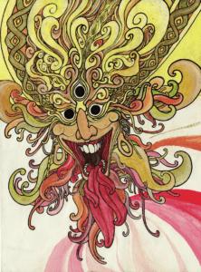 """Dessin de Teddy Ros """"sati"""" 2008 stylo noir feutres et crayons de couleurs 29,7 x 21 cm représentant un esprit d'Inde avec de multiples langues"""