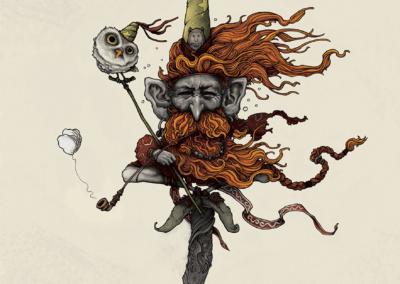 """digital painting """"Voyages intérieurs"""" 2015 digital painting sur photoshop de l'artiste Teddy Ros représentant un esprits sur un rocher avec sa pipe et son hiboux"""