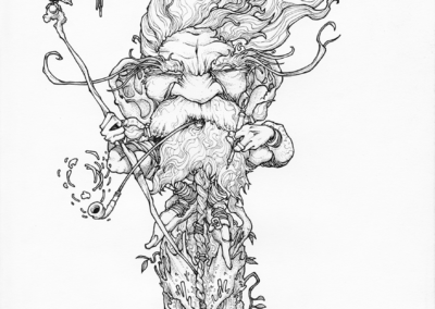 "Dessin ""Expo-SuissO"" 2014, crayon papier, 29,7 x 21 cm de Teddy Ros représentant un esprits sur son rocher"