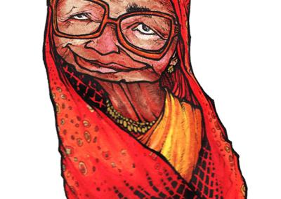 """dessin de Teddy Ros """"femmes02"""" 2011 stylo noir et aquarelle sur papier 12 x 5 cm représentant une femme avec son ruban rouge"""