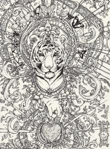 """Dessin de Teddy Ros """"Fermeture de diète"""" 2011, stylo noir sur papier, 29,7 x 21 cm représentant l'esprit de l'ayahuma et ses nombreux papillons et fleures dessiné lors de la fermeture de la diète de Teddy"""