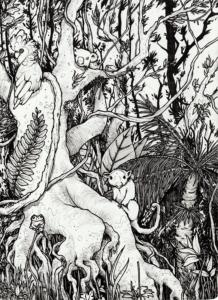 """dessin de Teddy Ros """"Forêt Ozzy"""" 2010, stylo noir sur papier, 21 x 14,8 cm représentant la forêt d'Australie"""