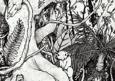 """""""Forêt Ozzy"""" 2010, stylo noir sur papier, 21 x 14,8 cm"""
