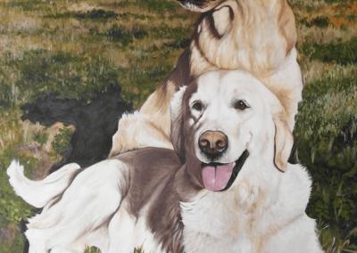 """Toile """"Gerard"""" 2013 peinture à l'huile sur toile 100 x 60 cm - vendu de l'artiste Teddy Ros représentant le portrait réaliste de chiens de compétitions réaliser avec la techniques Flammande de l'indirect painting"""