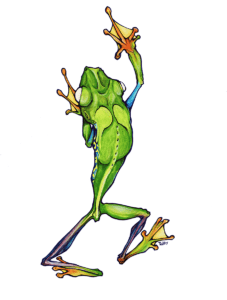 """dessin de Teddy Ros """"greunouille-coca"""" 2008 stylo bic, feutres sur papier 29,7 x 21 cm représentant une grenouille"""