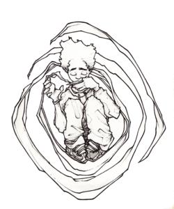 """dessin de Teddy Ros """"guimbarde"""" 2007 stylo noir sur papier 21 x 14,8 cm autoportrait de l'artiste teddy Ros en train de jouer de la guimbarde"""