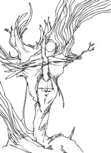 """dessin de Teddy Ros """"homme-vision"""" 2008 stylo noir sur papier 21 x 14,8 cm - vendu représentant un esprit d'arbre"""