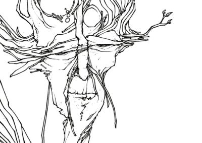 """""""homme-vision"""" 2008 stylo noir sur papier 21 x 14,8 cm - vendu"""