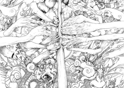 """dessin """"Kairos"""" 2016 stylo noir sur papier 84,1 x 59,4 cm En 2016 je me suis acheté un didgeridoo, nommé « Kairos », un instrument de musique haut de gamme qui a été fabriqué par un joueur professionnel. Il s'agit d'une véritable œuvre d'art tant au niveau de la réalisation, que la beauté de l'instrument et la sonorité qu'il produit. Ce dessin raconte ma rencontre avec cet instrument. Lorsque j'en joue, je me sens accompagné de nombreux esprits soufflant et participant aux rythmes et mélodies produits. La grande profusion de détails retranscrit l'étendue harmonique de l'instrument, la finesse et la précision ainsi que la richesse de sa musicalité. J'ai tenté également de mettre sur papier son essence et sa musicalité à l'aide de mes tracés. L'étude du trait rend hommage au travail de précision qu'a dû demander un tel instrument pour être réalisé."""