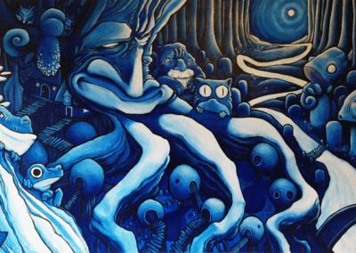 """Toile """"karim"""" 2014 acrylique et posca sur toile 160 x 80 cm - vendu de l'artiste Teddy Ros représentant une forêt habiter d'esprits malicieux et complice"""